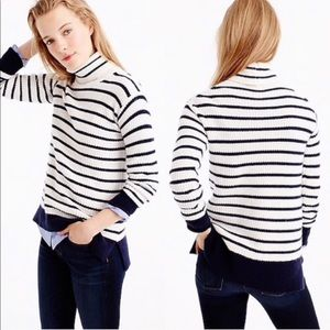 J. Crew Ribbed Relaxed Wool Turtleneck in Stripe